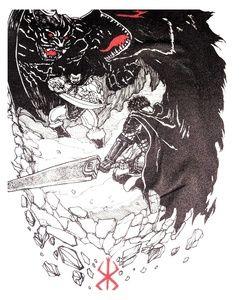 """BERSERK Manga shirt. """"Zodd vs. Guts"""" Manga panel."""